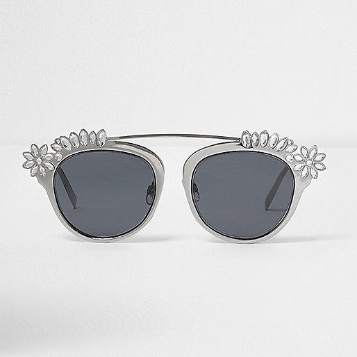 Silver embellished smoke lens sunglasses