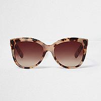 Beige Cateye-Sonnenbrille mit Leopardenmuster