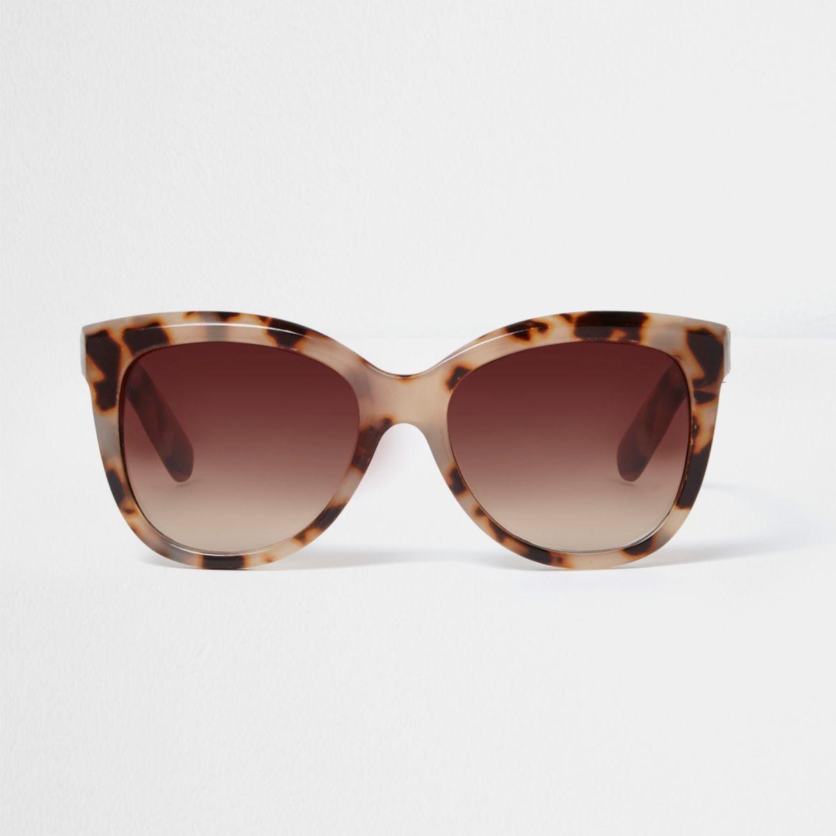 Beige glamour-zonnebril met luipaardprint