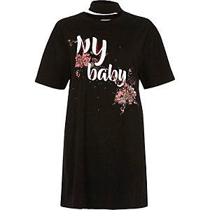 Black floral print NY baby jumbo T-shirt