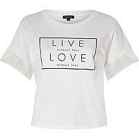 White 'live love' mesh sleeve T-shirt