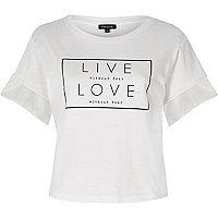 T-shirt blanc imprimé Live Love à manches en tulle