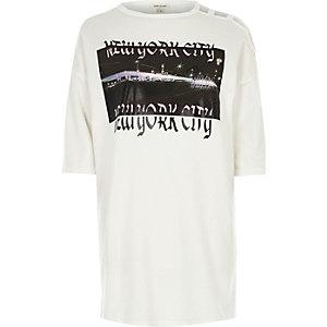 White NYC print longline T-shirt