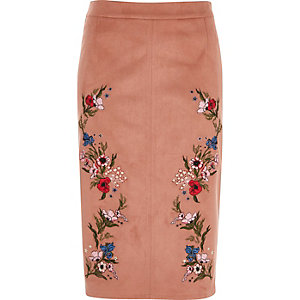 Pink faux suede floral pencil skirt