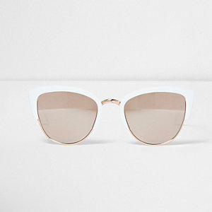White half frame gold mirror lens sunglasses