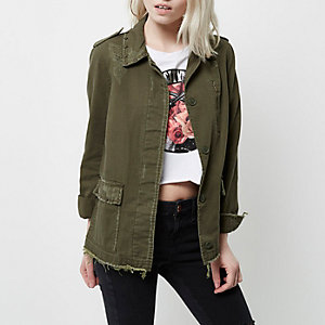 Petite khaki studded distressed army jacket