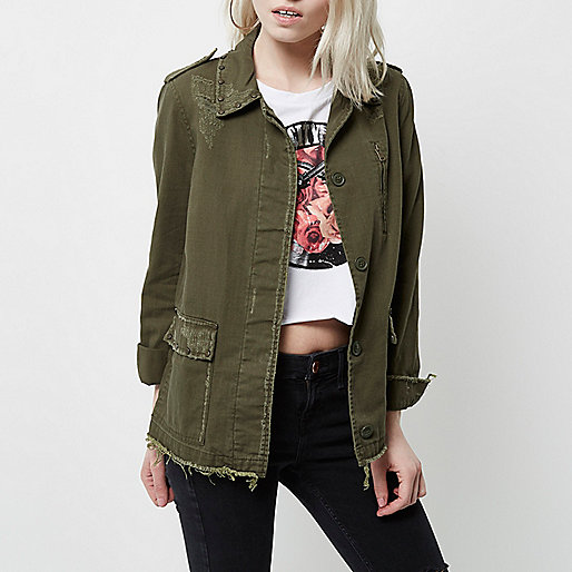 Petite khaki studded distressed army jacket