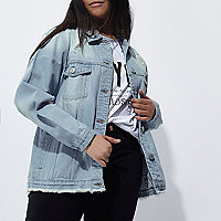 Plus blue distressed denim jacket