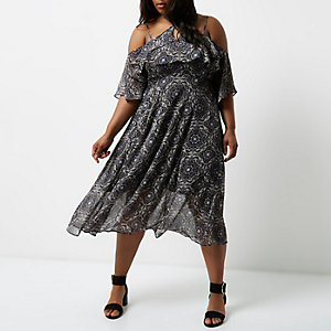 Plus black tile cold shoulder midi dress