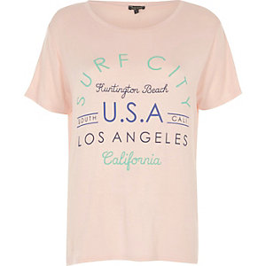 Pink Surf City print T-shirt