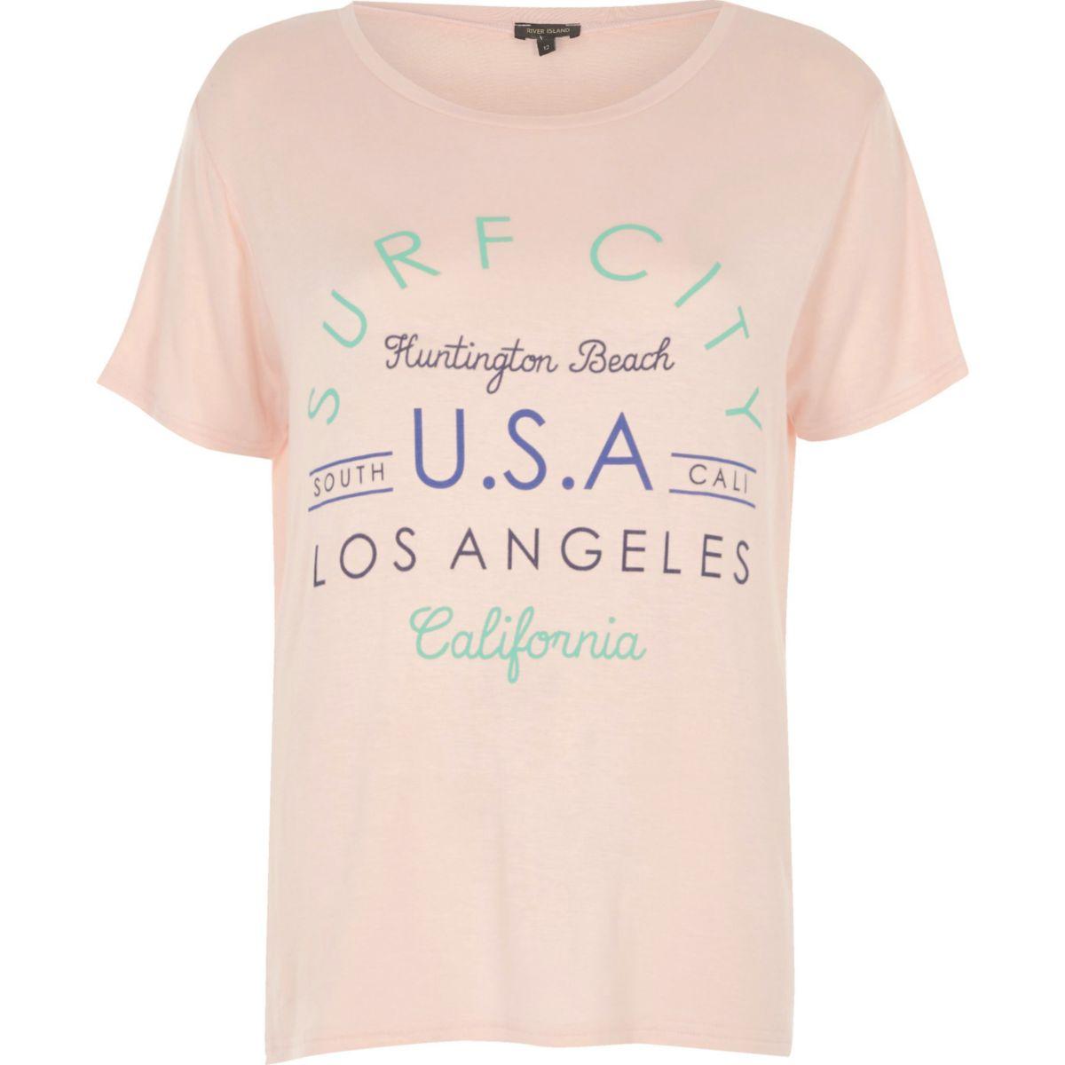T-shirt rose imprimé Surf City