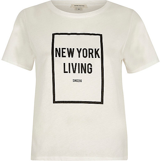 White 'New York living' flock print T-shirt
