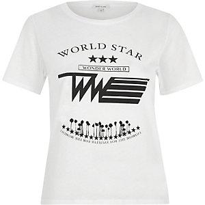White 'world star' print T-shirt