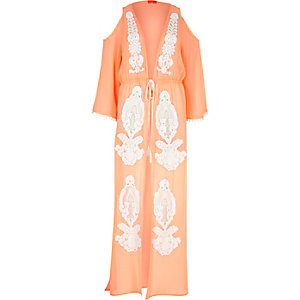 Coral embellished sheer cold maxi kaftan
