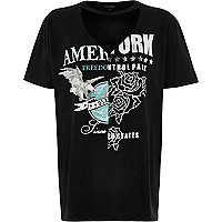 Black spliced cut-out band print T-shirt