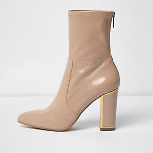 Blush pink patent look ankle boot