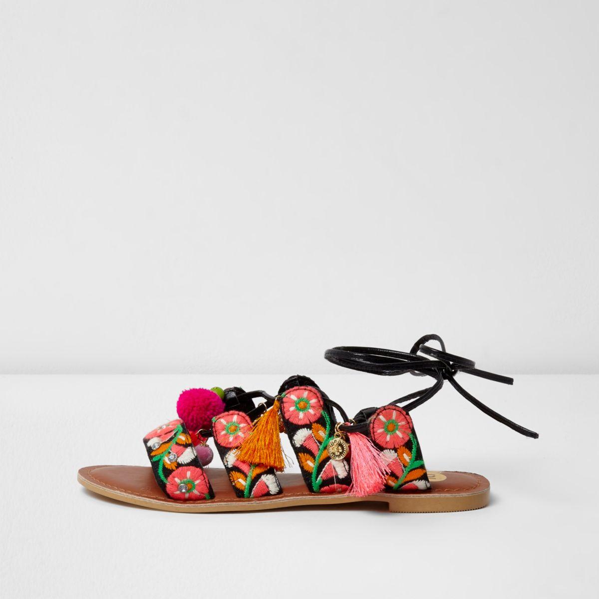 Black floral embroidered pom pom sandals