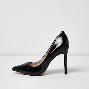Black patent court shoes
