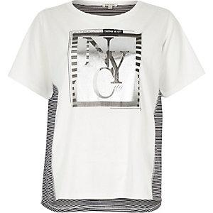 Kurzärmliges Hemd in Creme mit Folienprint