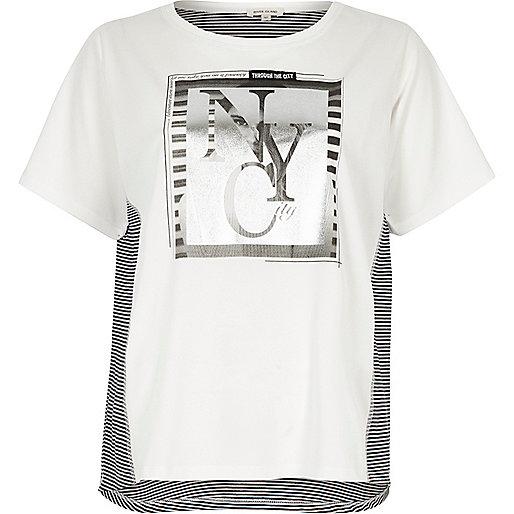 T-shirt imprimé métallisé crème à manches courtes