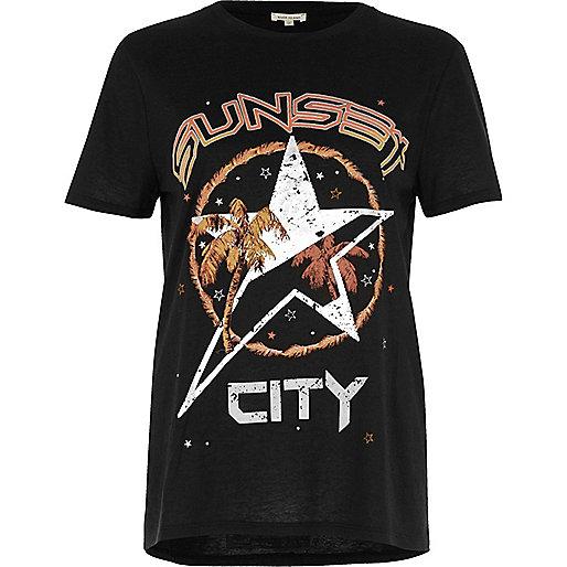 T-shirt Sunset City noir ajusté