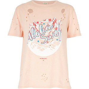 Pink surf print distressed T-shirt