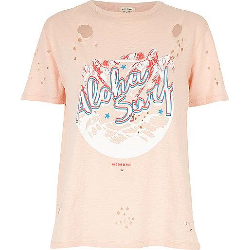 Pink surf print distressed T-shirt