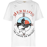 White mermaid print distressed tee