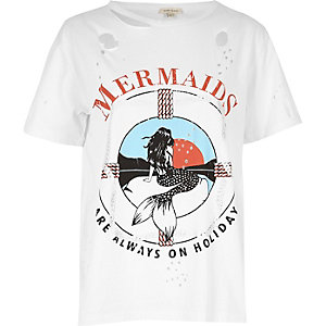 White mermaid print distressed tee