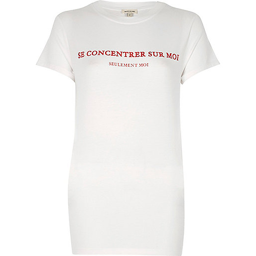 White concentrer print slim fitted tee