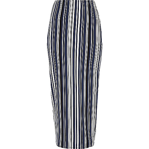 Blue striped jersey maxi skirt