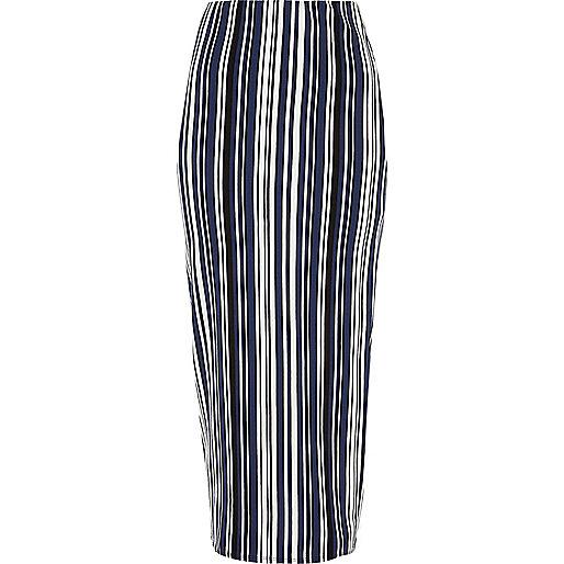 Blue striped jersey maxi skirt