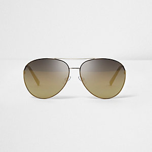 Gold tone bronze lens aviator sunglasses