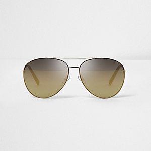 Lunettes de soleil aviateur dorées à verres bronze
