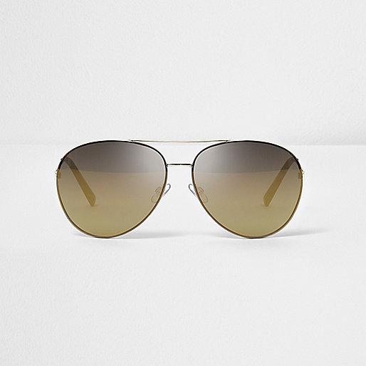 Gold tone bronze lens aviator sunglasses