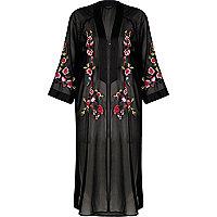 Black sheer floral embroidered kimono