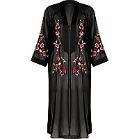 Kimono noir transparent à fleurs brodées