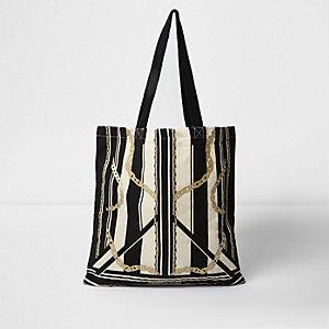 Beige stripe and chain print shopper bag