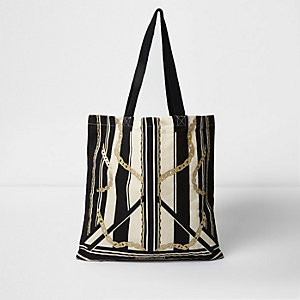 Beige stripe and chain print shopper