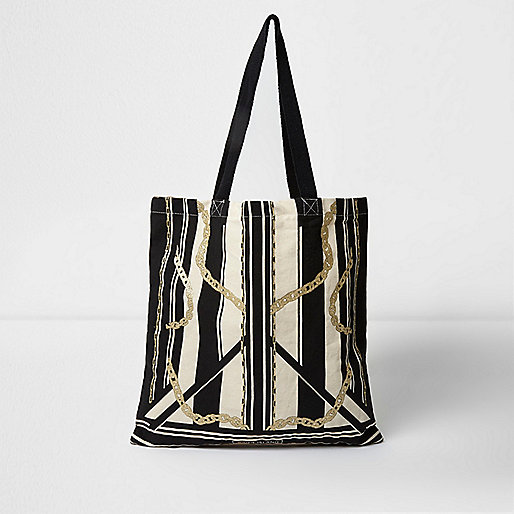 Beige stripe and chain print shopper bag