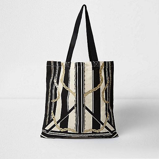 Beige Shopper-Tasche mit Streifen
