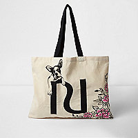 Beige floral bulldog shopper bag