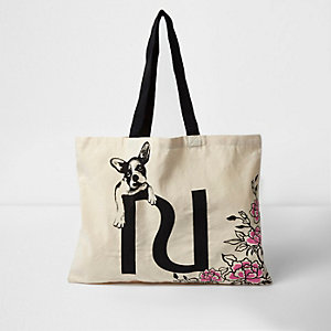 Beige floral bulldog shopper