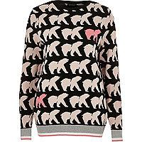 Black polar bear print Christmas sweater