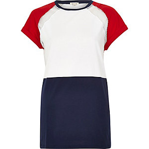 Red mesh panel colour block boyfriend T-shirt