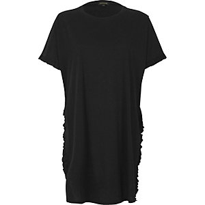 Black frill longline T-shirt