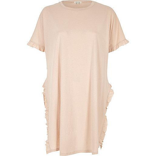 T-shirt oversize rose à volant