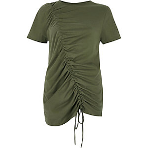 Kaki gerimpeld T-shirt met trekkoord