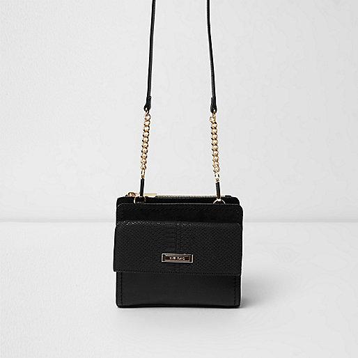 Black boxy pocket front bag