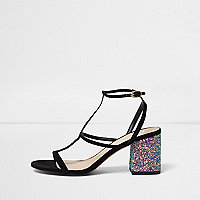 Black caged glitter block heel sandals